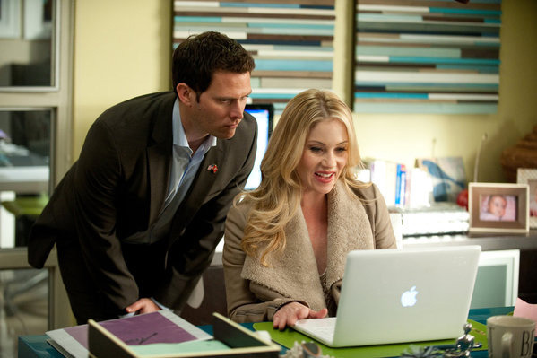 "UP ALL NIGHT -- ""Baby Fever"" Episode 120 -- Pictured: (l-r) Steven Pasquale as Luke, Christina Applegate as Reagan Brinkley."