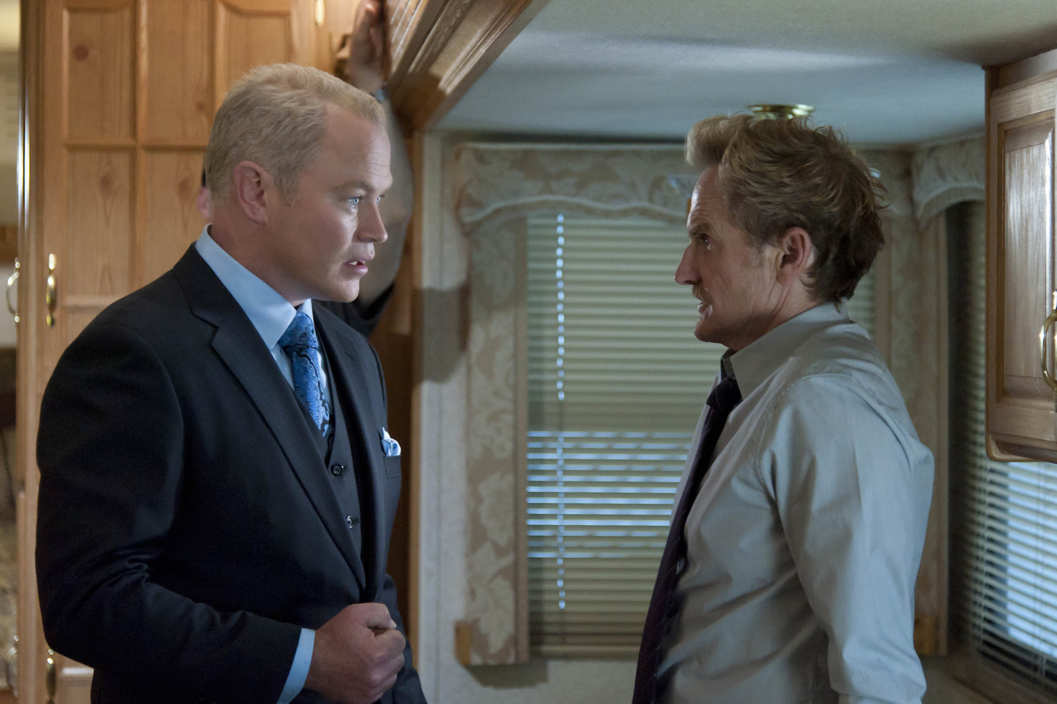 L-R: Neal McDonough and Jere Burns in JUSTIFIED: Episode 11: Measures.