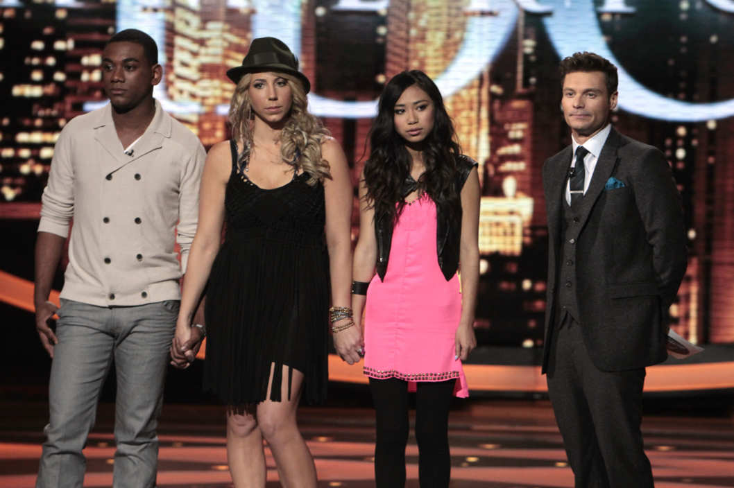 AMERICAN IDOL: The Bottom 3: L-R: Josh Ledet, Elise Testone and Jessica Sanchez. Also pictured: Ryan Seacrest (R).