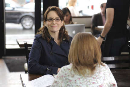 "30 ROCK -- ""Murphy Brown Lied to Us"" Episode 618 -- Pictured: (l-r) Tina Fey as Liz Lemon, Bebe Wood as Cat -- (Photo by: Ali Goldstein/NBC)"