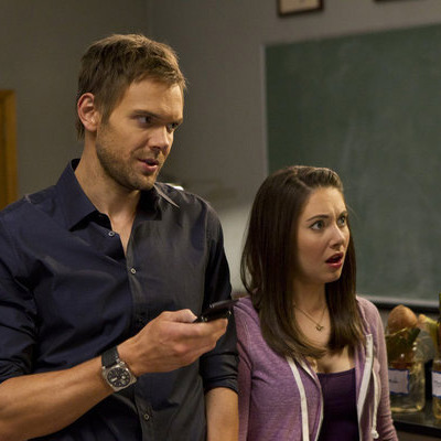 "COMMUNITY -- ""Basic Lupine Urology"" Episode 317 -- Pictured: (l-r) Joel McHale as Jeff, Allison Brie as Annie."