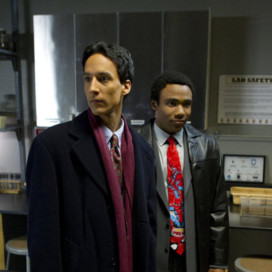 "COMMUNITY -- ""Basic Lupine Urology"" Episode 317 -- Pictured: (l-r) Danny Pudi as Abed, Donald Glover as Troy."