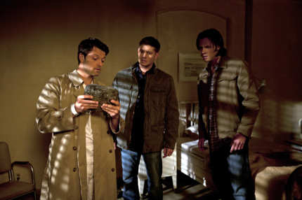 Misha Collins as Castiel, Jensen Ackles as Dean, Jared Padalecki as Sam in SUPERNATURAL
