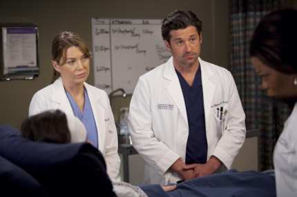 Elen Pompeo and Patrick Dempsey on Grey's Anatomy.