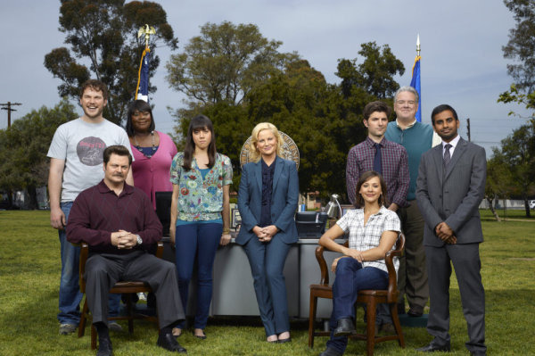 PARKS AND RECREATION -- Season: 3 -- Pictured: (l-r) Chris Pratt as Andy Dwyer, Nick Offerman as Ron Swanson, Retta as Donna, Aubrey Plaza as April Ludgate, Amy Poehler as Leslie Knope, Rashida Jones as Ann Perkins, Adam Scott as Ben Wyatt, Jim O'Heir as Jerry, Aziz Ansari as Tom Haverford -- Photo by: Mitchell Haaseth/NBC