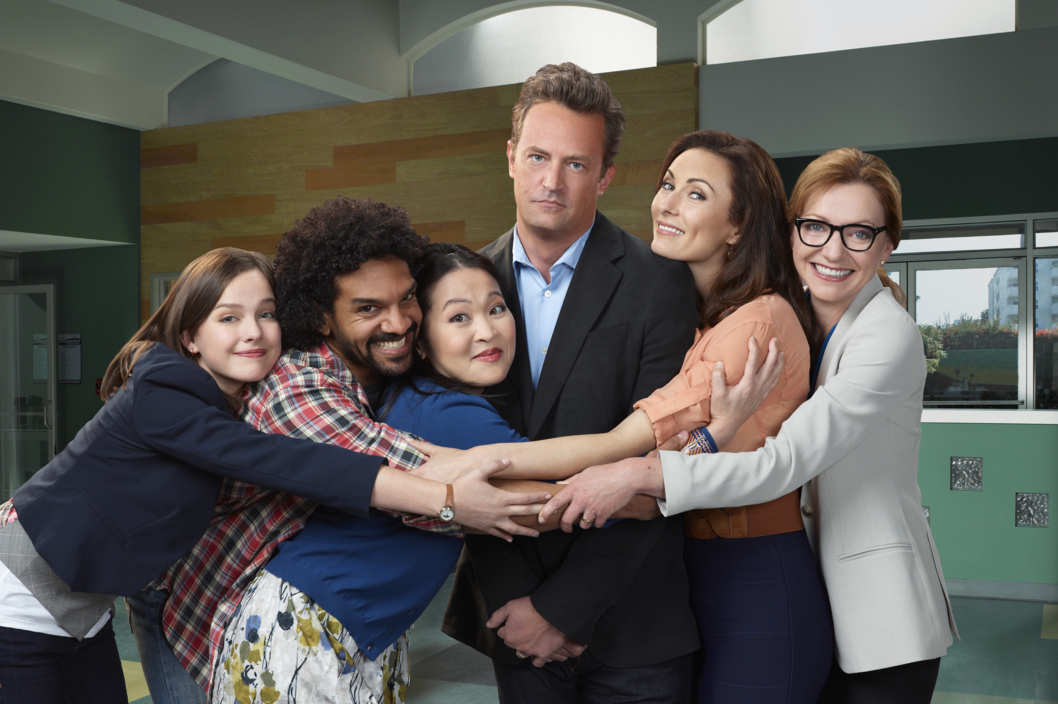 GO ON -- Pictured: (l-r) Allison Miller as Carrie, Khary Payton as Don, Suzy Nakamura as Yolanda, Matthew Perry as Ryan, Laura Benanti as Lauren, Julie White as Anne