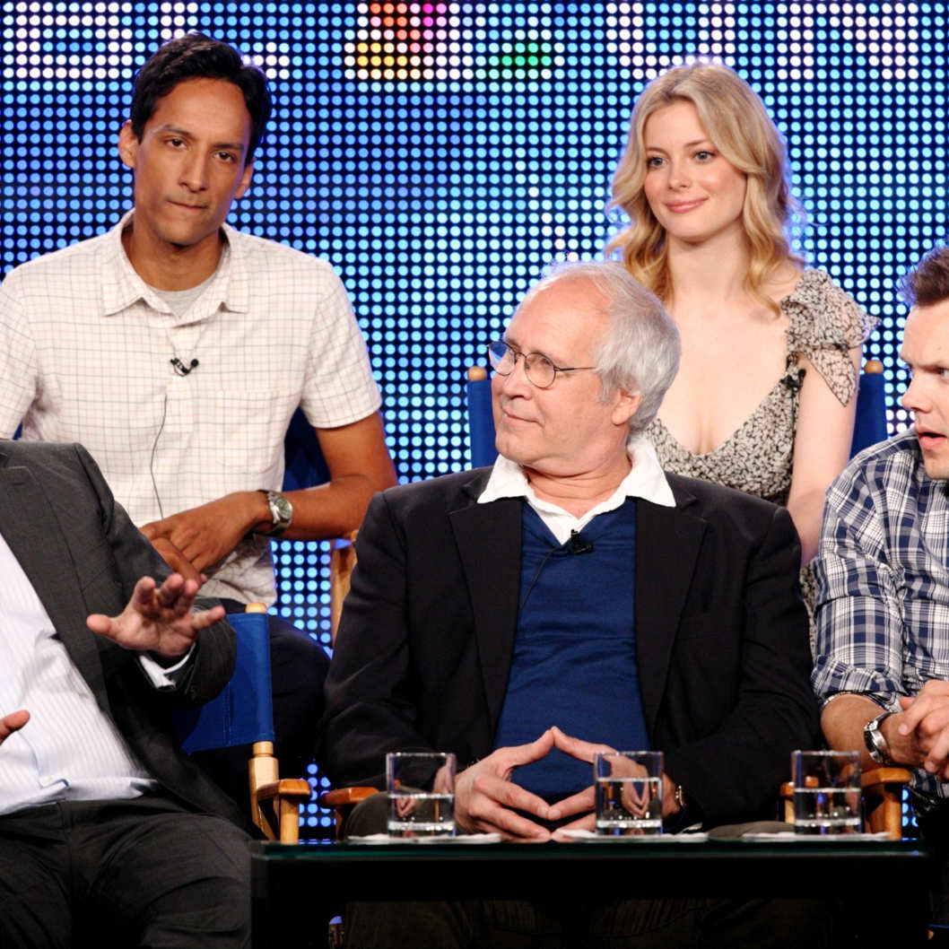 "Executive producer Dan Harmon of the television show ""Community"" speaks as actors Danny Pudi and Gillian Jacobs (top row) and Chevy Chase and Joel McHale (bottom row) look on"