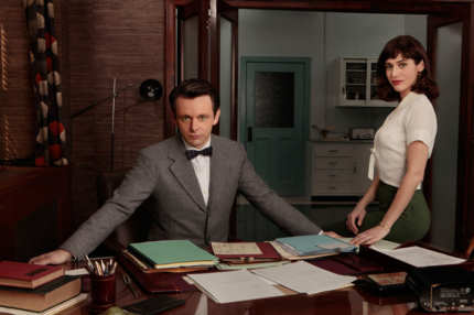 Masters of Sex - Pictured: Michael Sheen as Dr. William Masters, Lizzy Caplan as Virginia Johnson