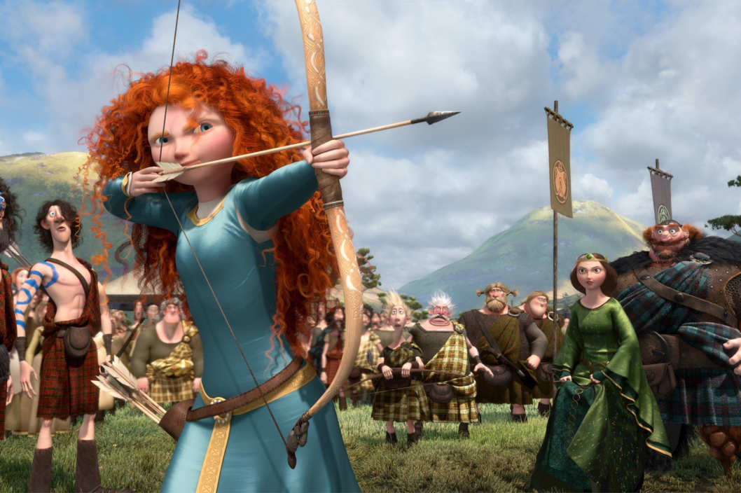 """BRAVE""   (L-R) LORD MACINTOSH and his son, YOUNG MACINTOSH; MERIDA, WEE DINGWALL and his father, LORD DINGWALL; LORD MacGUFFIN and his son, YOUNG MacGUFFIN; QUEEN ELINOR and KING FERGUS."