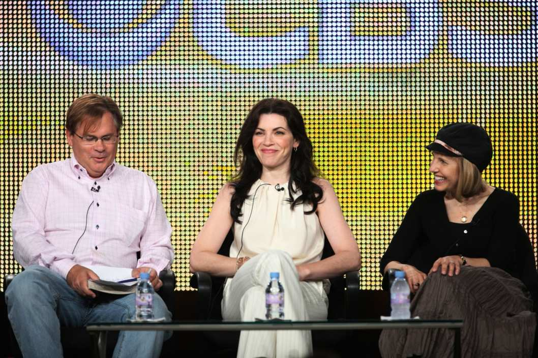 "Executive Producer Robert King, actress Julianna Margulies and Executive Producer/Creator Michelle King of the television show ""The Good Wife"" speak during the CBS Network portion of the 2009 Summer Television Critics Association Press Tour."