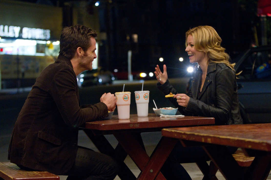 """PEOPLE LIKE US"" - Sam (Chris Pine) spends time getting to know Frankie (Elizabeth Banks) the sister he has just discovered, while trying to figure out how to tell her they are siblings in the DreamWorks drama/comedy ""People Like Us""."
