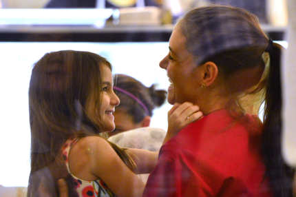 Katie Holmes and daughter Suri Cruise visit Sundaes and Cones in the East Village on July 3, 2012 in New York City.