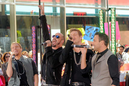"Singers Brian Littrell, AJ McLean, Nick Carter and Howie Dorough of the Backstreet Boys perform on NBC's ""Today"""