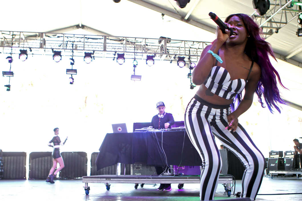 Rapper/singer Azealia Banks performs onstage during day 2 of the 2012 Coachella Valley Music & Arts Festival