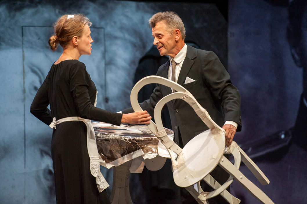 "Mikhail Baryshnikov and Anna Sinyakina perform a scene in ""In Paris"" by the Dmitry Krymov Laboratory at the Gerald W. Lynch Theater, John Jay College on July 31, 2012, part of Lincoln Center Festival 2012."