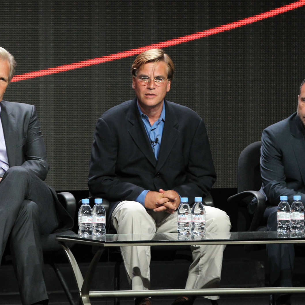 Actor Jeff Daniels, Creator/Executive Producer Aaron Sorkin and Executive Producer Alan Poul speak onstage during the HBO Summer 2012 TCA Panel at The Beverly Hilton Hotel on August 1, 2012 in Beverly Hills, California.