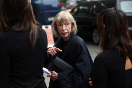 Author Joan Didion attends the funeral of Dominick Dunne at The Church of St. Vincent Ferrer on September 10, 2009 in New York City.  Author Dominick Dunne was 83 when he passed away at his home on August 26, 2009.