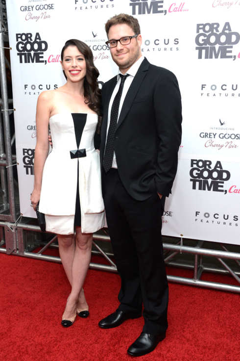 "Actors Lauren Miller and Seth Rogen attend the ""For A Good Time, Call..."" premiere at Regal Union Square on August 21, 2012 in New York City."