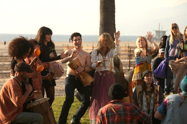 "NEW GIRL:  Jess (Zooey Deschanel, fourth from L) and Schmidt (Max Greenfield, fifth from L) join the drum circle at the beach in the ""Control"" episode of NEW GIRL airing Tuesday, March 13 (9:00-9:30 PM ET/PT) on FOX."