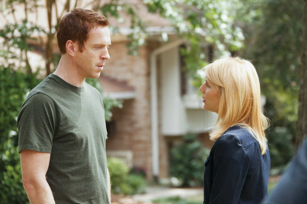 "Damian Lewis as Nicholas ""Nick"" Brody and Claire Danes as Carrie Mathison in Homeland"