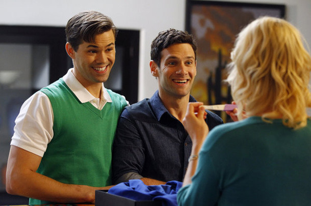 "THE NEW NORMAL -- ""Pilot"" -- Pictured: (l-r) Andrew Rannells as Bryan, Justin Bartha as David, Georgia King as Goldie"