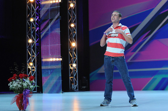 Patrick Ford dances on stage at the auditions for THE X FACTOR in Providence, RI.