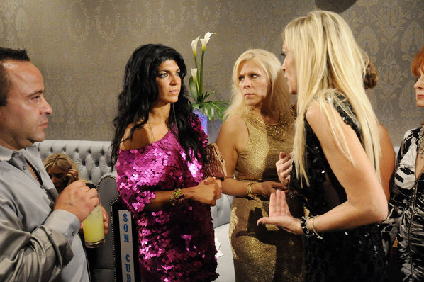 "REAL HOUSEWIVES OF NEW JERSEY -- ""Porsche Fashion Show"" -- Pictured: (l-r) Joe Giudice, Teresa Giudice, Kim D."