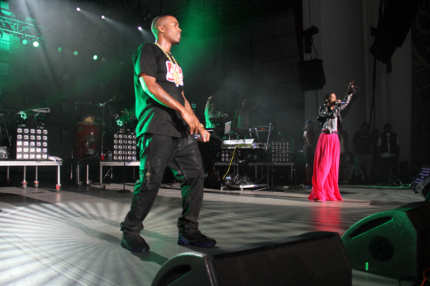 Nas & Lauryn Hill pictured at 2012 Rock The Bells Day Two music festival at the PNC Bank Arts Center on September 2, 2012 in Holmdel, New Jersey.