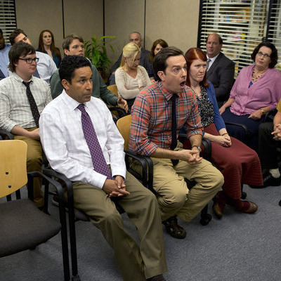 "THE OFFICE -- ""New Guys"" Episode 901 -- Pictured: Back row (l-r) Leslie David Baker as Stanley Hudson, Craig Robinson as Darryl Philbin, John Krasinski as John Halpert, Catherine Tate as Nellie Bertram, Creed Bratton as Creed Bratton, Middle row (l-r) Clark Duke as Clark, Jake Lacy as Pete, Angela Kinsey as Angela Martin, Ellie Kemper as Erin Hannon, Brian Baumgartner as Kevin Malone, Front row (l-r) Oscar Nunez as Oscar Martinez, Ed Helms as Andy Bernard, Kate Flannery as Meredith Palmer, Phyllis Smith as Phyllis Vance, Rainn Wilson as Dwight Schrute"