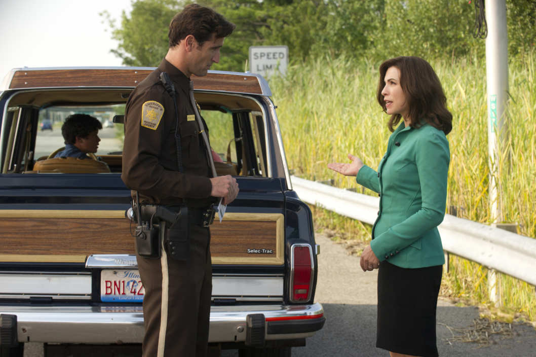 """I Fought the Law""--Alicia (Julianna Margulies, right) speaks with Officer Robb (Matthew Del Negro, center) after he pulls over the car that her son was driving, on THE GOOD WIFE, Sunday 30, on the CBS Television Network. Also pictured Graham Phillips, behind left"