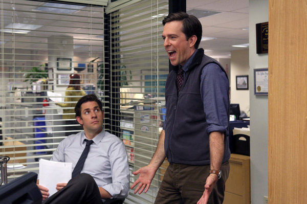 "THE OFFICE -- ""Andy's Ancestry"" Episode 903 -- Pictured: (l-r) John Krasinski as Jim Halpert, Ed Helms as Andy Bernard."