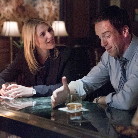 "Claire Danes as Carrie Mathison and Damian Lewis as Nicholas ""Nick"" Brody in Homeland (Season 2, episode 4)."