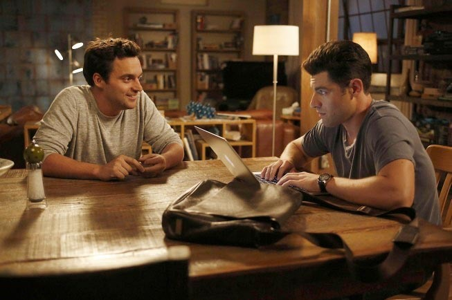 "NEW GIRL:  Nick (Jake Johnson, L) and Schmidt (Max Greenfield, R) discuss their friendship in the ""Models"" episode of NEW GIRL airing Tuesday, Oct. 23 (9:00-9:30 PM ET/PT) on FOX."