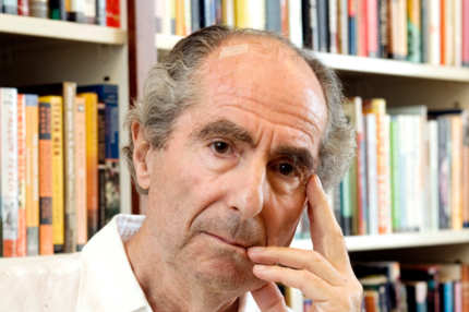 Author Philip Roth poses for a photo in the offices of his publisher Houghton Mifflin, in New York Thursday Sept. 8, 2008.