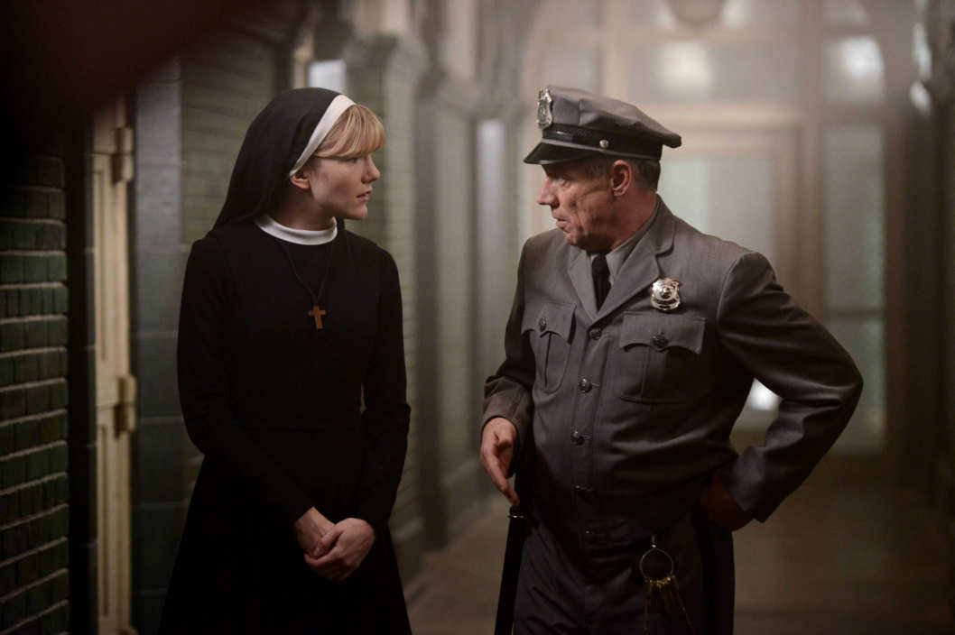 AMERICAN HORROR STORY Dark Cousin -- Episode 207 (Airs Wednesday, November 28, 10:00 pm e/p) -- Pictured: (L-R) Lily Rabe as Sister Mary Eunice, Fredric Lehne as Frank