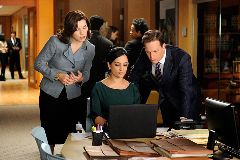"""Battle of the Proxies""  Kalinda (Archie Panjabi, center) helps when Will (Josh Charles, right) defends a man accused of murder and Alicia (Julianna Margulies, left) attempts to influence the outcome of his case by aiding the prosecutor in a nearby county who is trying another man who for the same crime, on THE GOOD WIFE."