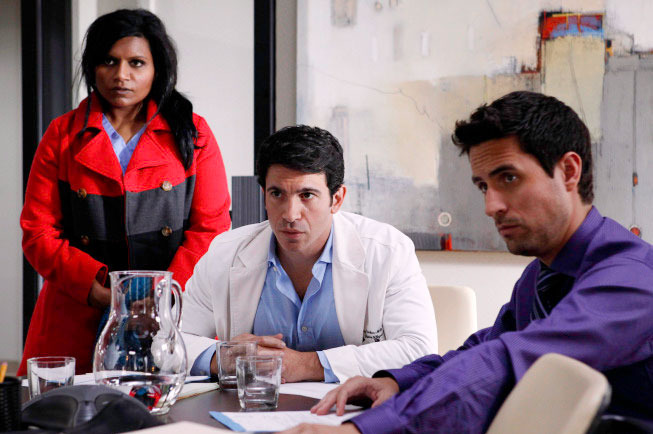"THE MINDY PROJECT: Mindy (Mindy Kaling, L), Danny (Chris Messina, C) and Jeremy (Ed Weeks, R)  discover a change in the office staff in the ""Two to One"" episode of THE MINDY PROJECT airing Tuesday, Dec. 4 (9:30-10:00 PM ET/PT) on FOX. 2012 Fox Broadcasting Co."
