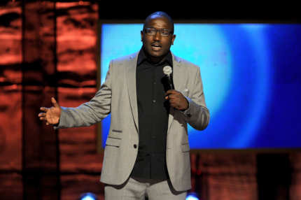 Hannibal Buress speaks onstage at Comedy Central's night of too many stars: America comes together for autism programs at The Beacon Theatre on October 13, 2012 in New York City.