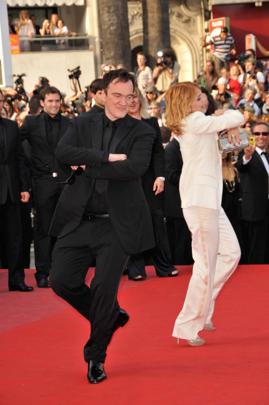 "Quentin Tarantino and Melanie Laurent attend the premiere of ""Inglourious Basterds"", during 62nd Cannes Film Festival."