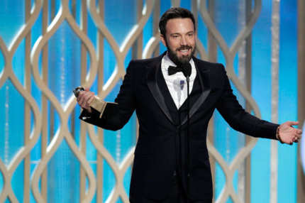 "70th ANNUAL GOLDEN GLOBE AWARDS -- Pictured: Winner, Ben Affleck, Best Director - Motion Picture, ""Argo"" on stage during the 70th Annual Golden Globe Awards held at the Beverly Hilton Hotel on January 13, 2013."