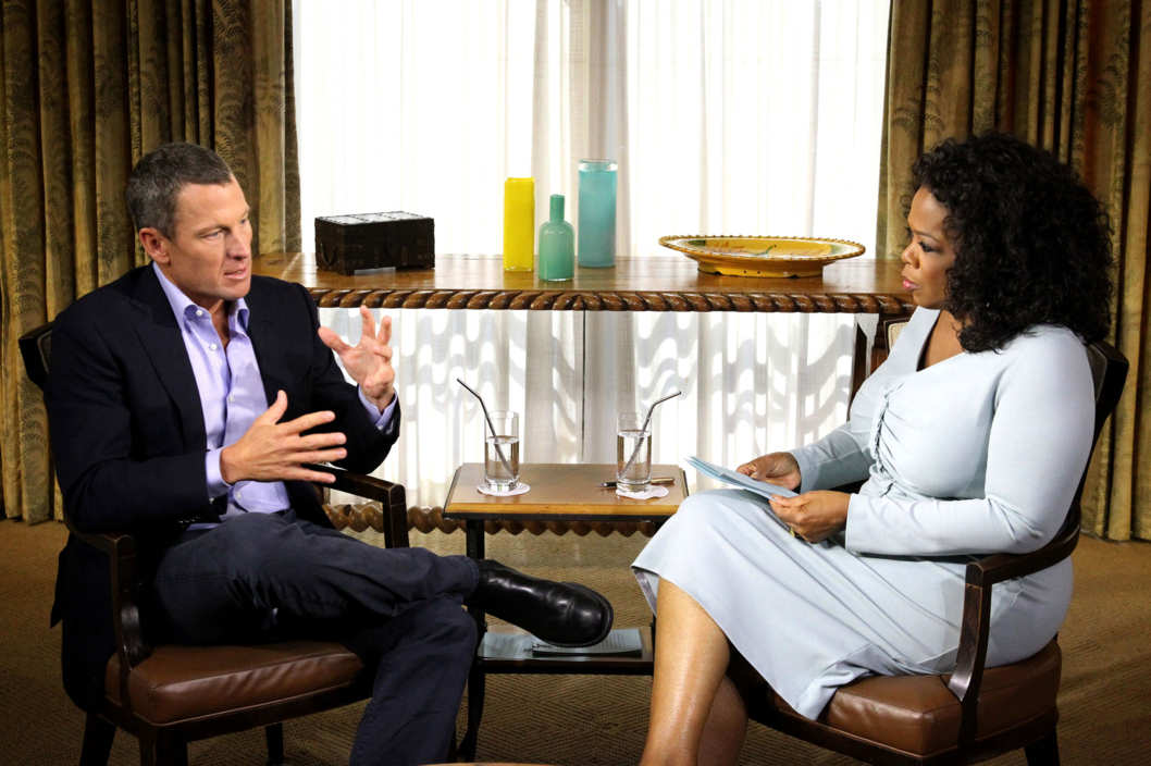 "In this handout photo provided by the Oprah Winfrey Network, Oprah Winfrey (R) speaks with Lance Armstrong during an interview regarding the controversy surrounding his cycling career January 14, 2013 in Austin, Texas.  Oprah Winfrey's exclusive no-holds-barred interview with Lance Armstrong, ""Oprah and Lance Armstrong: The Worldwide Exclusive,"" has expanded to air as a two-night event on OWN: Oprah Winfrey Network."
