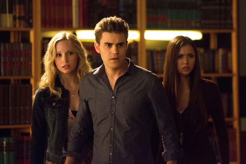 "The Vampire Diaries -- ""After School Specia"" -- Pictured (L-R): Candice Accola as Caroline, Paul Wesley as Stefan, and Nina Dobrev as Elena"