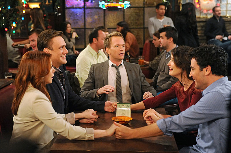 """The Final Page, Part One And Two"" --  With Christmas fast approaching, Barney tells Ted that he plans on proposing to Patrice, which leads Ted to debate whether or not to tell Robin. Meanwhile, Marshall and Lily run into an acquaintance from college, on a special one-hour episode of HOW I MET YOUR MOTHER, Monday, Dec. 17 (8:00-9:00 PM, ET/PT) on the CBS Television Network. Pictured left to right: Alyson Hannigan, Jason Segel, Neil Patrick Harris, Cobie Smulders and Josh Radnor"