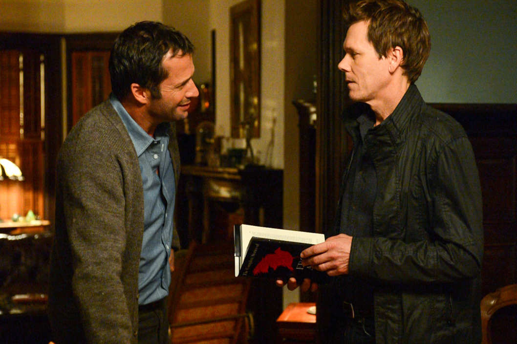 "THE FOLLOWING: In a flashback scene Ryan Hardy (Kevin Bacon, R) seeks advice from Professor Joe Carroll (James Purefoy, L) in the ""Poet's Fire"" episode of  THE FOLLOWING airing Monday, Feb. 4 (9:00-10:00 PM ET/PT) on FOX."