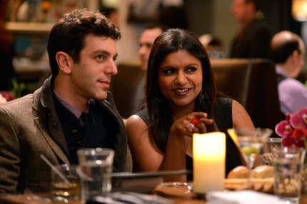 "THE MINDY PROJECT: Jaime (guest star B.J. Novak, L) and Mindy (Mindy Kaling, R) double-date on Valentine's Day in the ""Harry & Mindy"" episode of THE MINDY PROJECT Tuesday, Feb. 5 (9:30-10:00 PM ET/PT) on FOX."