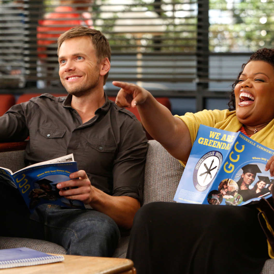 "COMMUNITY -- ""History 101"" Episode 401 -- Pictured: (l-r) Joel McHale as Jeff, Yvette Nicole Brown as Shirley"
