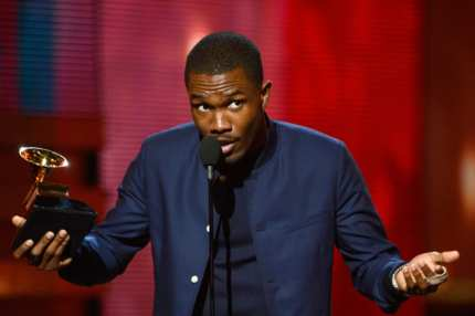 "LOS ANGELES, CA - FEBRUARY 10:  Singer Frank Ocean accepts Best Urban Contemporary Album award for ""Channel Orange"" onstage at the 55th Annual GRAMMY Awards at Staples Center on February 10, 2013 in Los Angeles, California.  (Photo by Kevork Djansezian/Getty Images)"