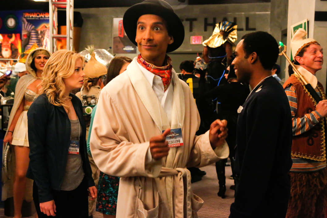 "COMMUNITY -- ""Conventions of Space and Time"" Episode 404 -- Pictured: (l-r) Gillian Jacobs as Britta, Danny Pudi as Abed, Donald Glover as Troy"
