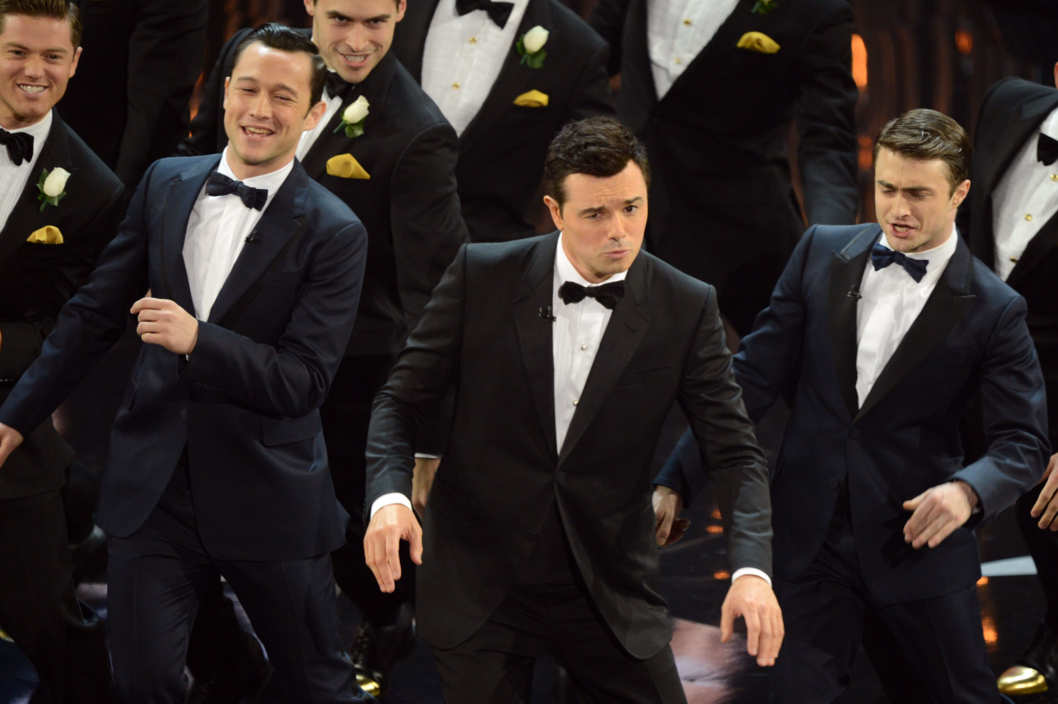 Joseph Gordon-Levitt, Seth MacFarlane and Daniel Radcliffe perform during the show at the 85th Annual Academy Awards on February 24, 2013 in Hollywood, California.