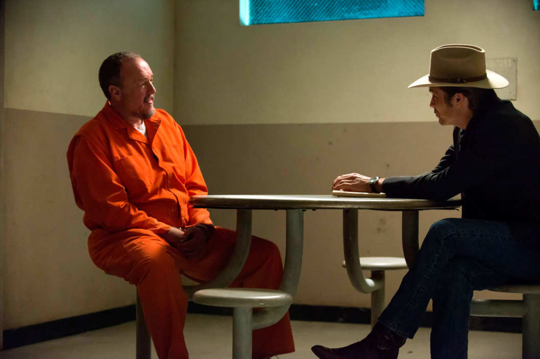 JUSTIFIED -- Outlaw -- Episode 8 (Airs Tuesday, February 26, 10:00 pm e/p) -- Pictured: (L-R) Brent Sexton as Hunter Mosley, Timothy Olyphant as Deputy U.S. Marshal Raylan Givens